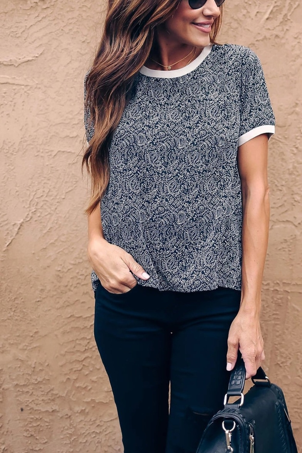 Lyn -Maree's Tiny Paisley Print Tee - Front Cropped Image