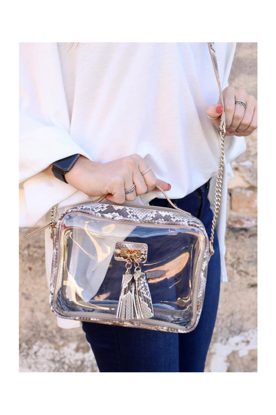 The Birds Nest Tinzley Clear Bag With Tassels-Snake Latte - Main Image