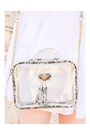 The Birds Nest Tinzley Clear Bag With Tassels-Snake Neutral - Product Mini Image