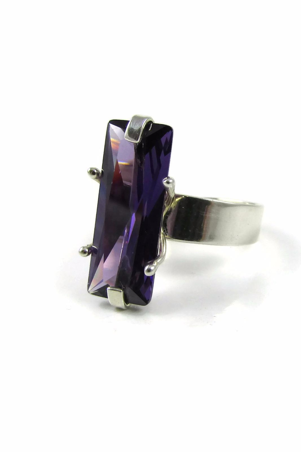 Tis tiK Baguette Cocktail Ring - Front Full Image