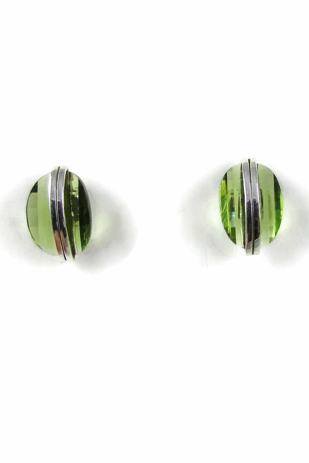 Tis tiK Button Crystal Studs Earrings - Front Cropped Image