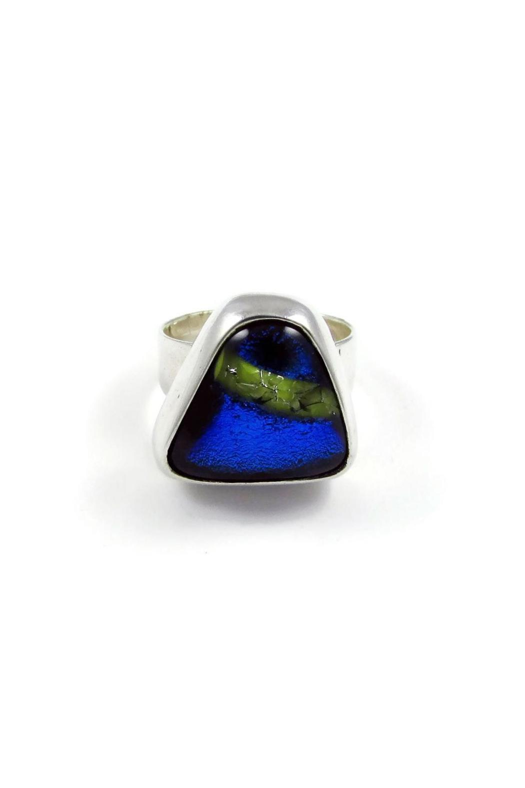 Tis tiK Dichroic Glass Ring - Front Cropped Image