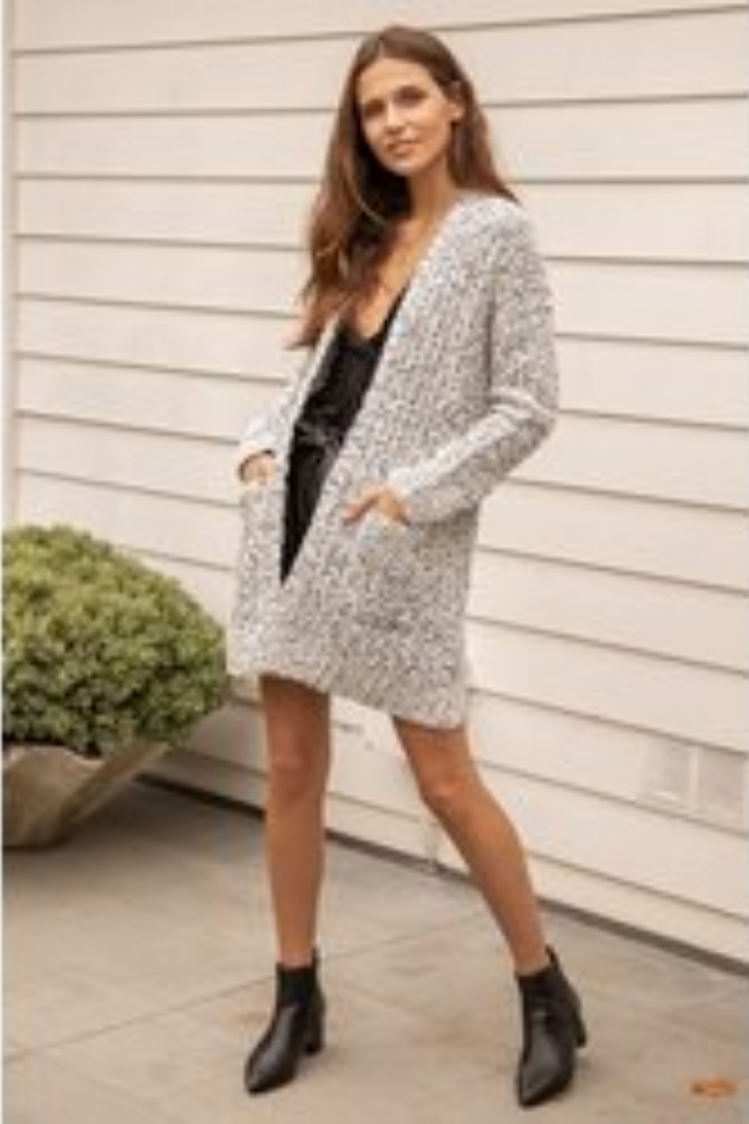 Hem and Thread TN  Two Tone Textured Cardigan - Front Full Image