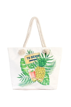 """Shoptiques Product: """"To-Beach"""" Pineapple Summer-Tote-Bag"""
