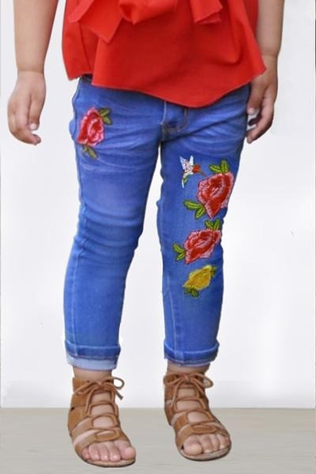 Cutie Patootie Toddler Embroidered Jeans - Front Cropped Image