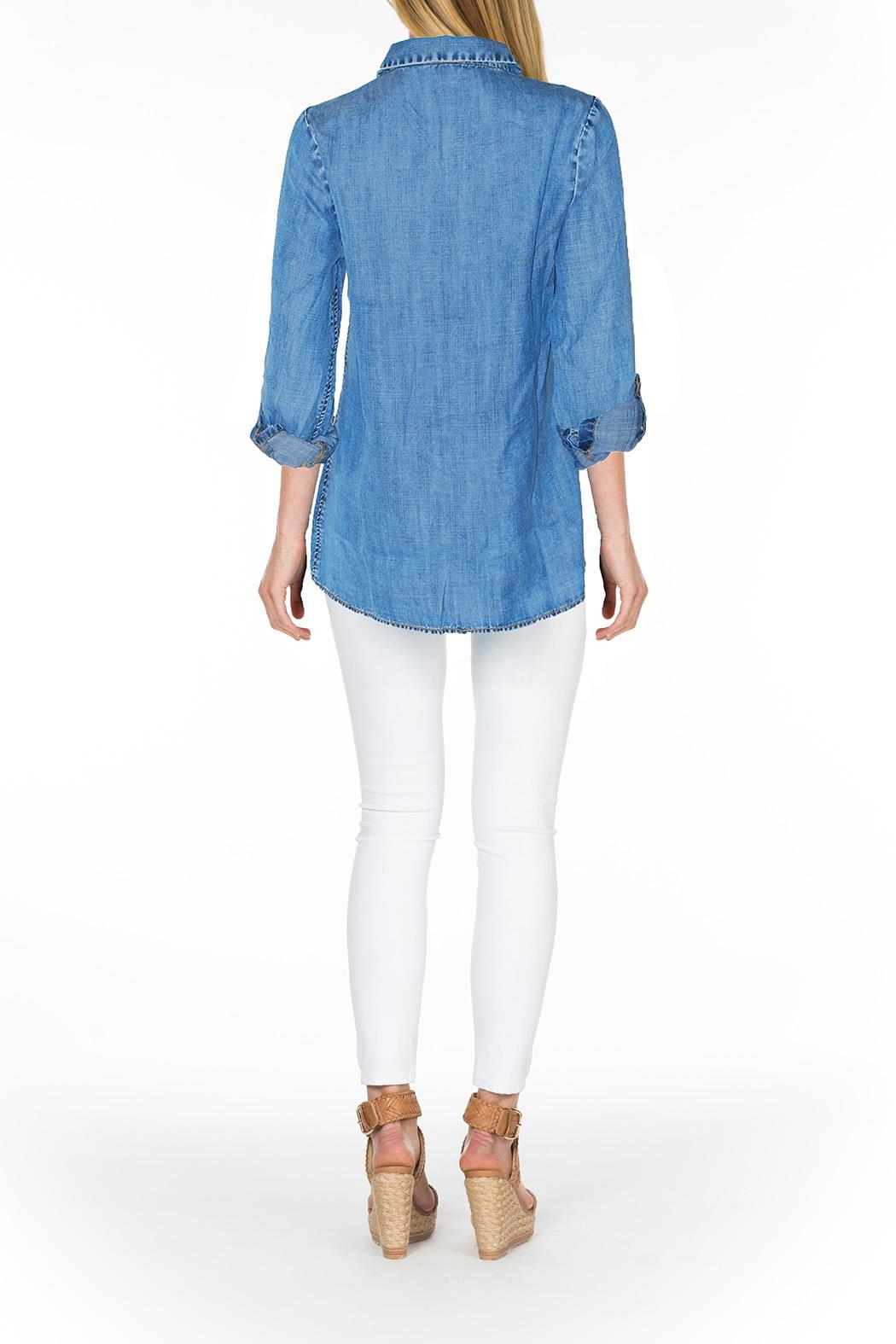 Tolani Embroidered Chambray Tunic - Front Full Image