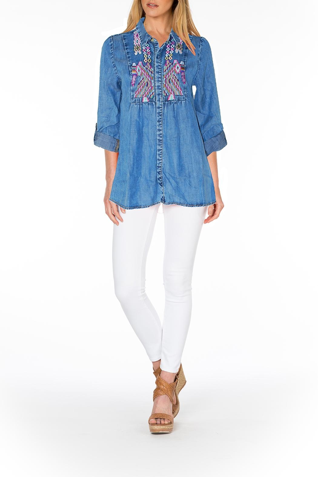 Tolani Embroidered Chambray Tunic - Main Image