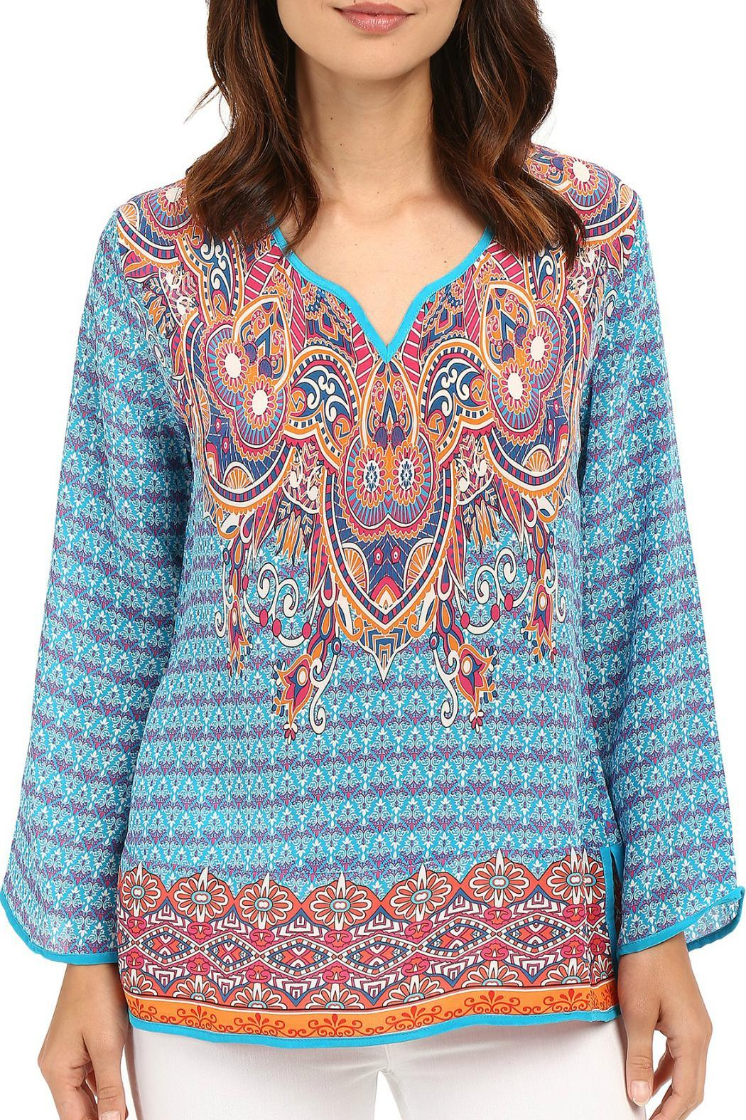 Tolani Mixed Print Blouse - Front Cropped Image