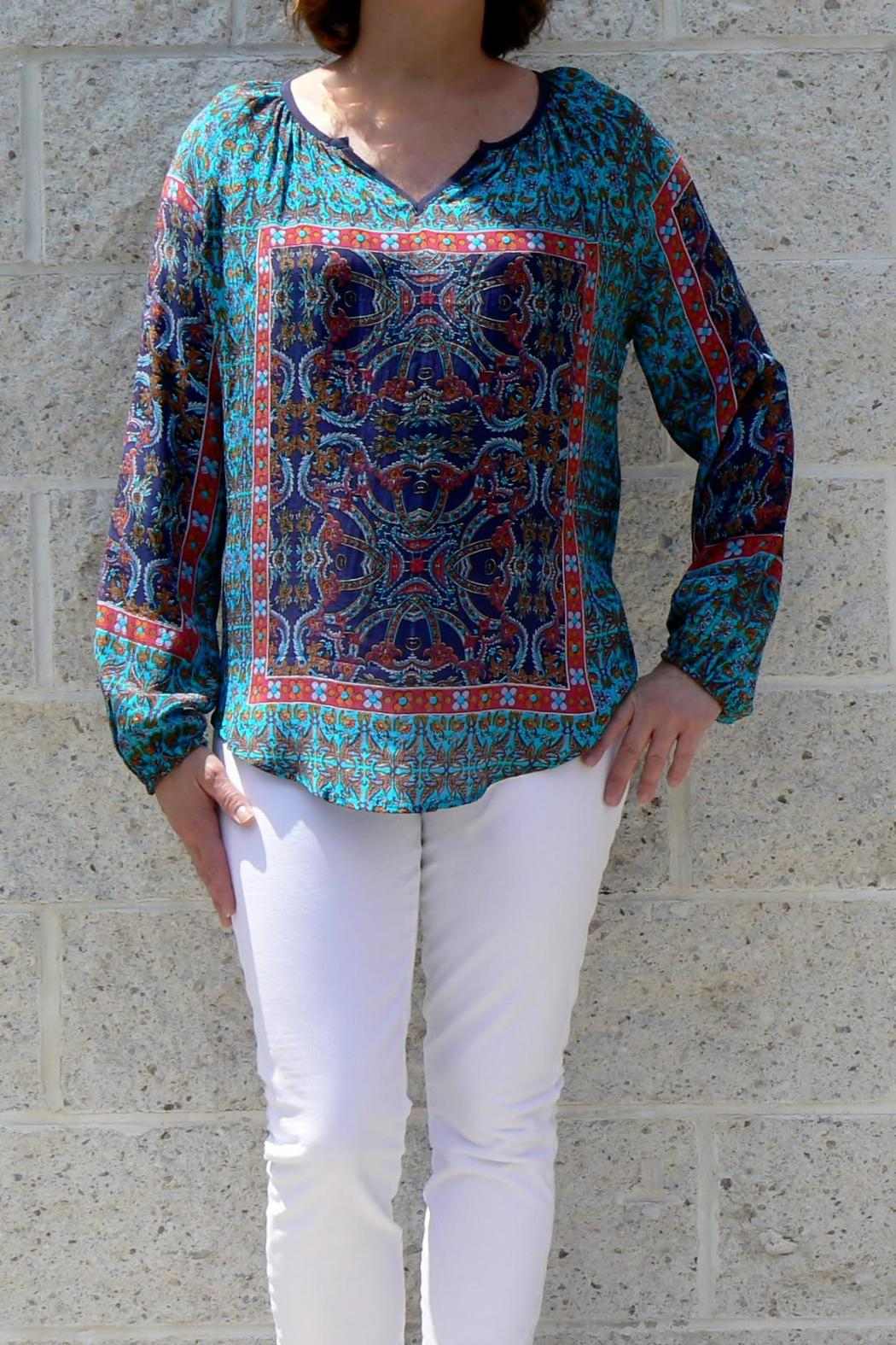 Tolani Paisley Silk Blouse - Front Cropped Image