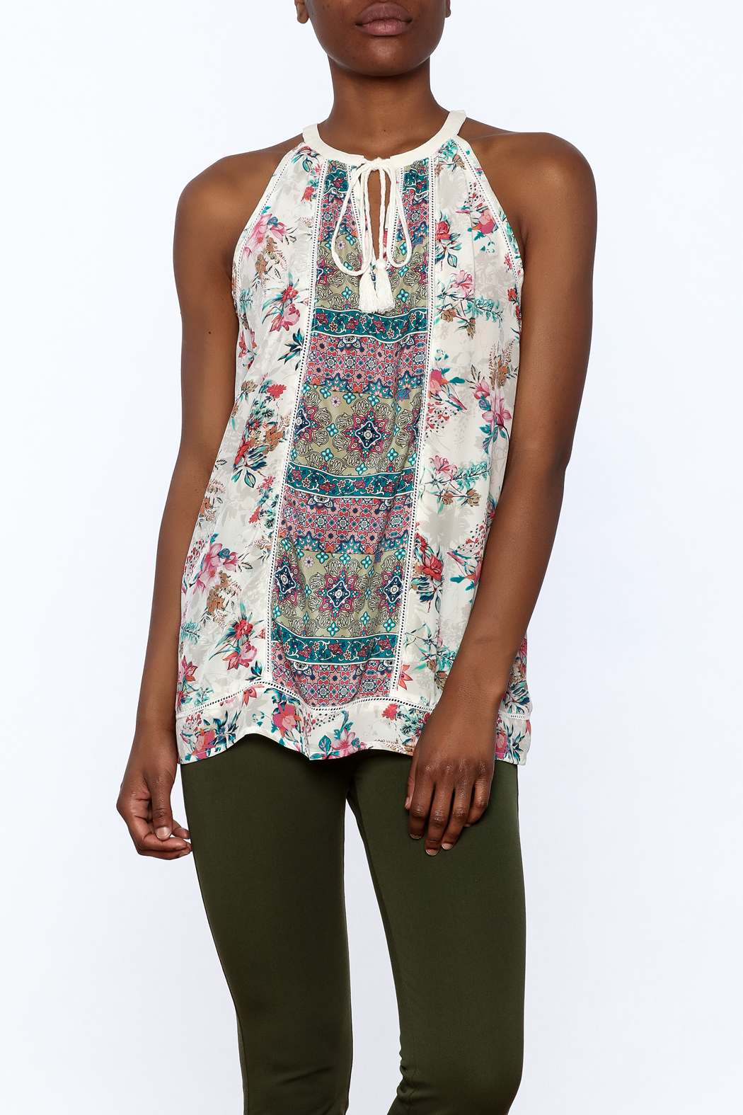 Tolani Silky Sleeveless Blouse - Front Cropped Image
