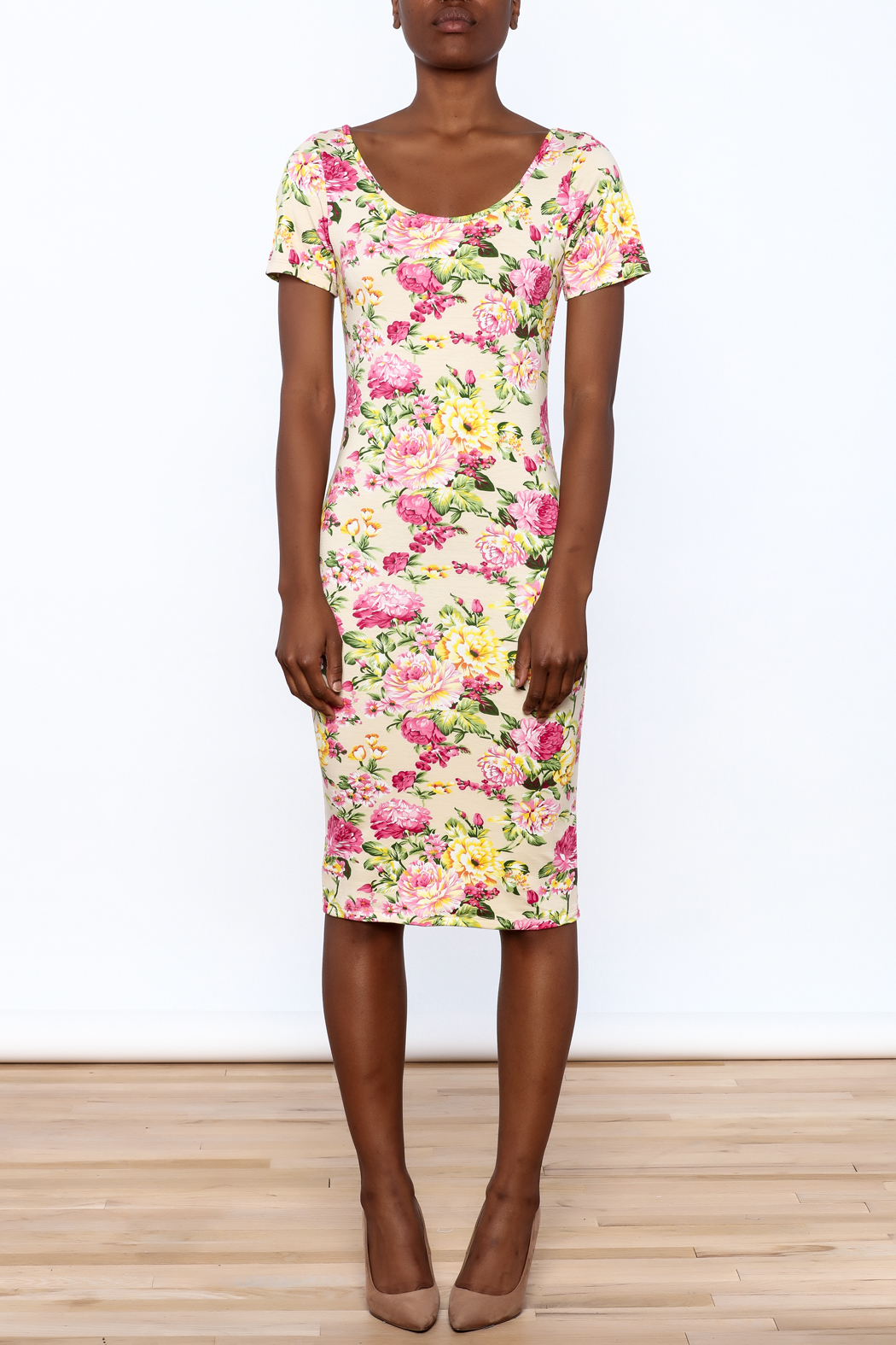 Tom's Ware Floral Georgia Bodycon Dress - Front Cropped Image