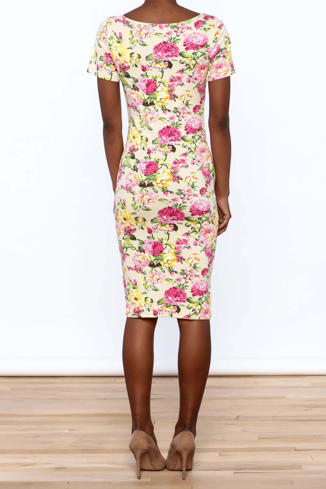 Tom's Ware Floral Georgia Bodycon Dress - Back Cropped Image