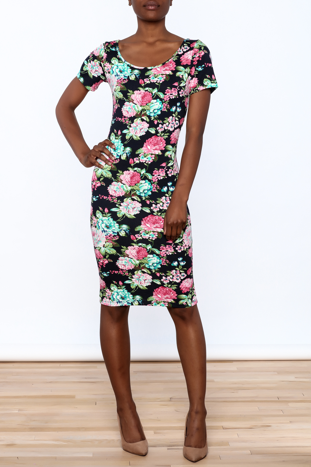 Tom's Ware Floral Georgia Bodycon Dress - Front Full Image