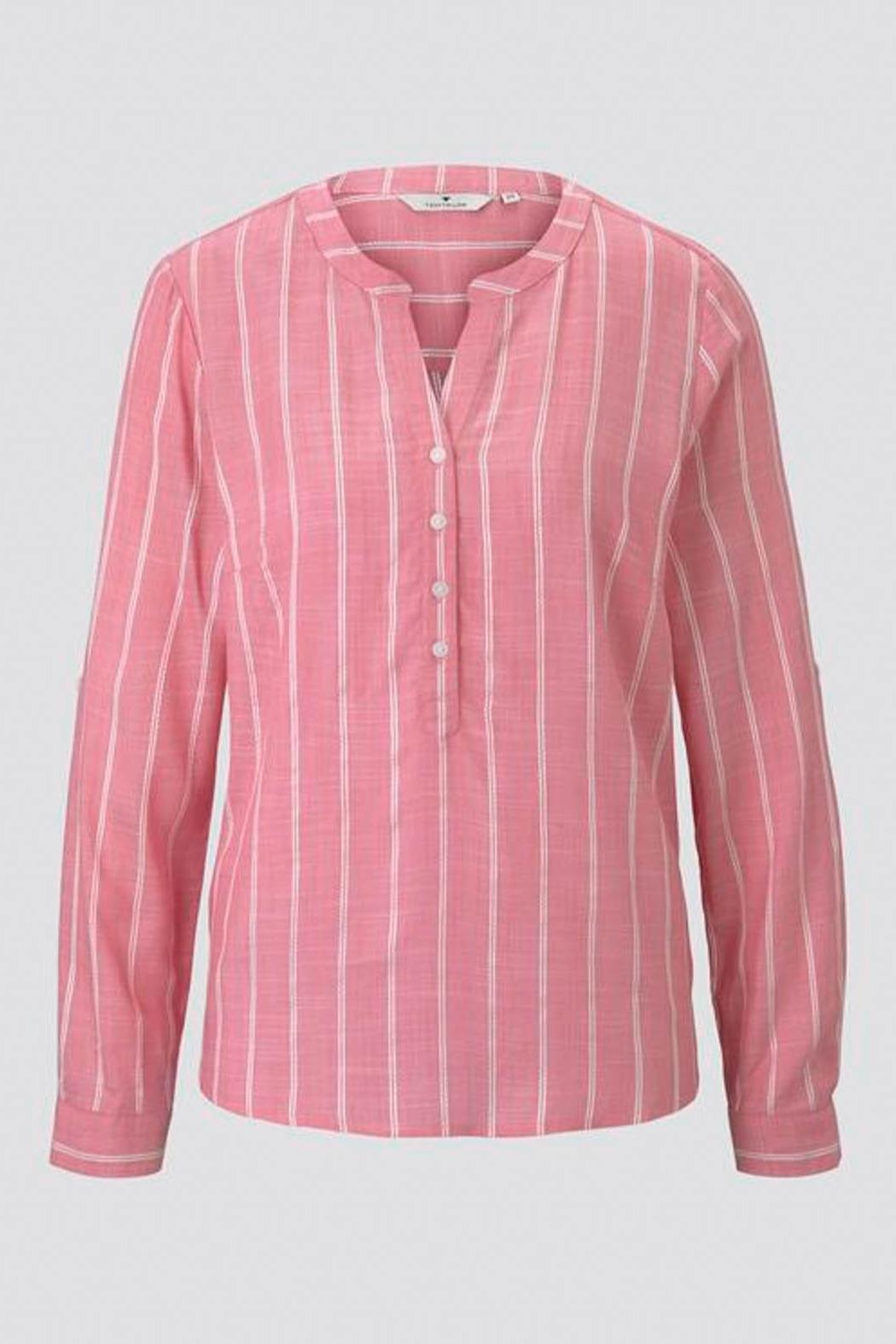 Tom Tailor Striped Henley Blouse - Back Cropped Image