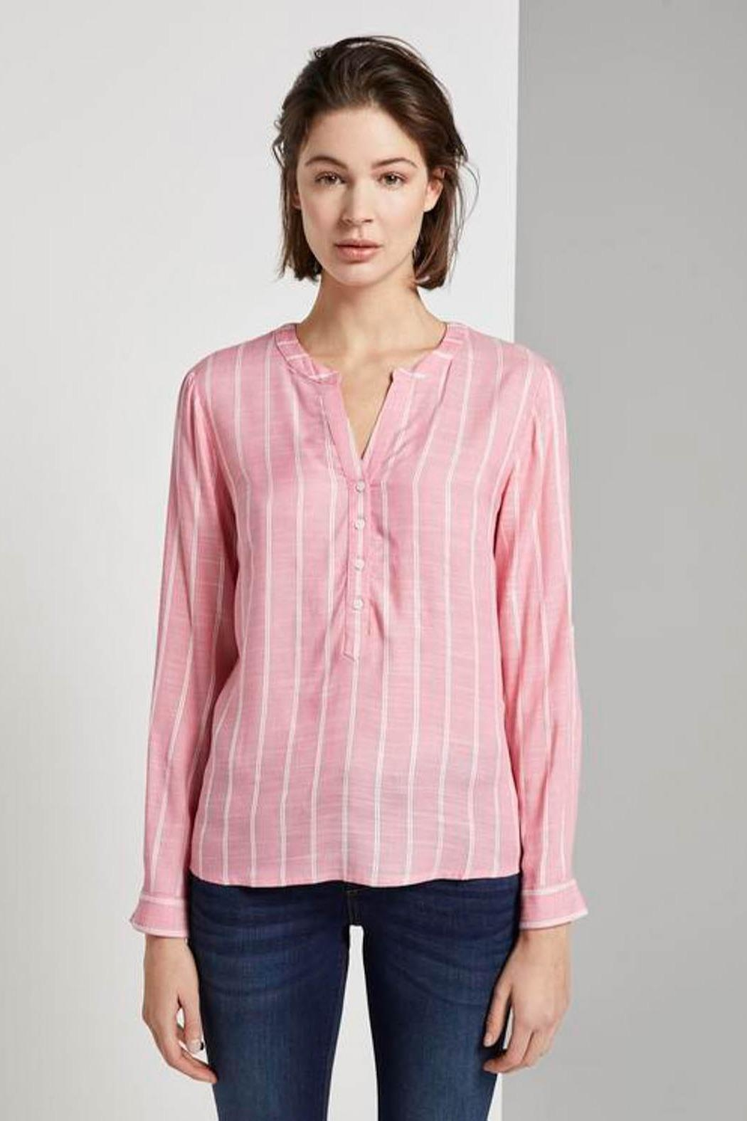 Tom Tailor Striped Henley Blouse - Main Image