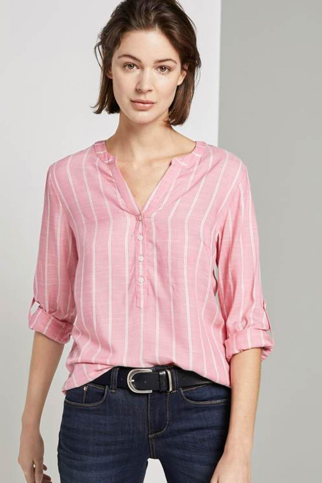Tom Tailor Striped Henley Blouse - Side Cropped Image