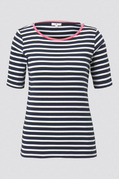 Shoptiques Product: Striped Tee With Pink Trim