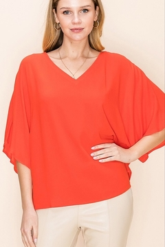 Shoptiques Product: Tomato Flutter Sleeve Top