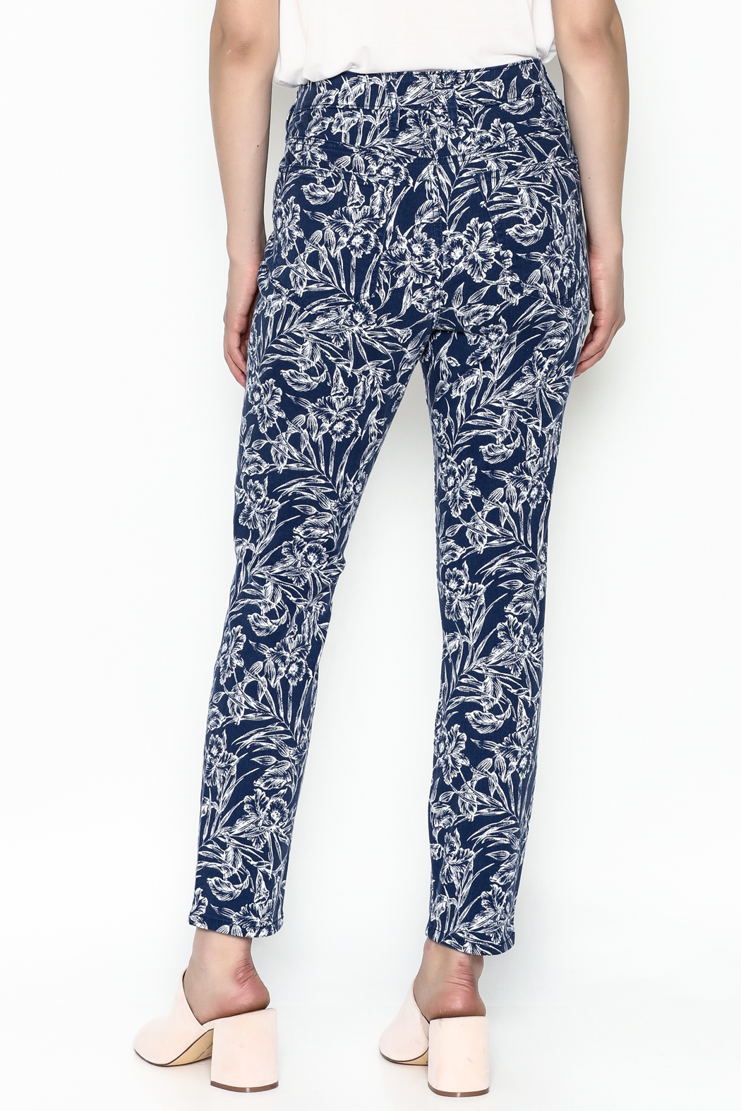 Tommy Bahama Hibiscus Print Jeans - Back Cropped Image