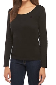 Tommy Hilfiger Long Sleeve Solid Scoop Neck T-Shirt Black - Product Mini Image