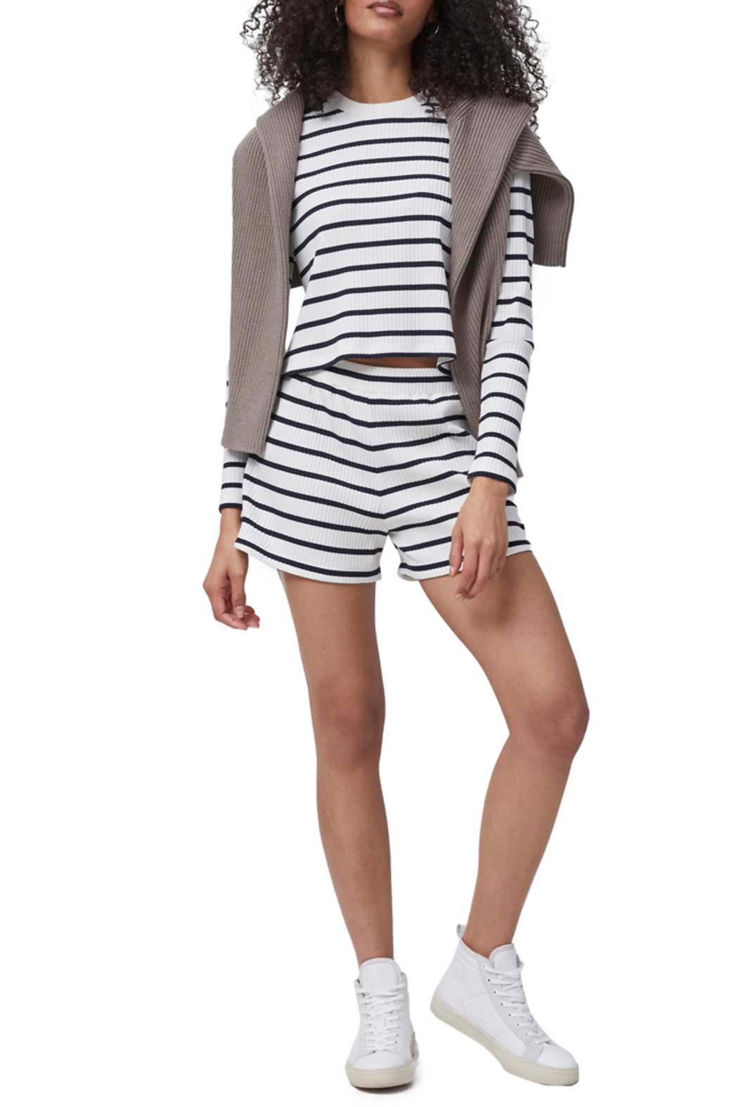 French Connection Tommy Rib Long Sleeve Top - Front Full Image