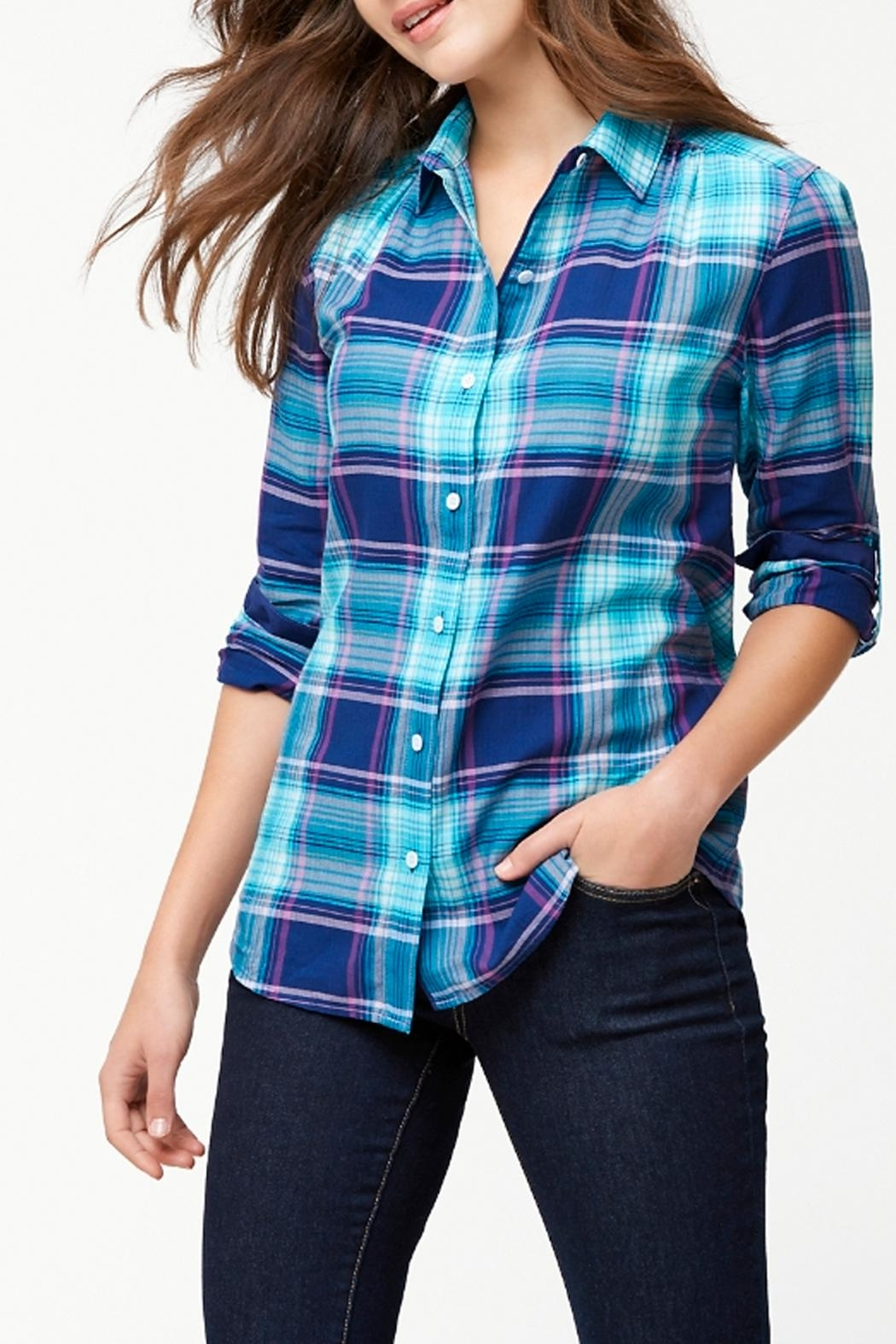 Tommy Bahama Plaid Shirt - Front Cropped Image