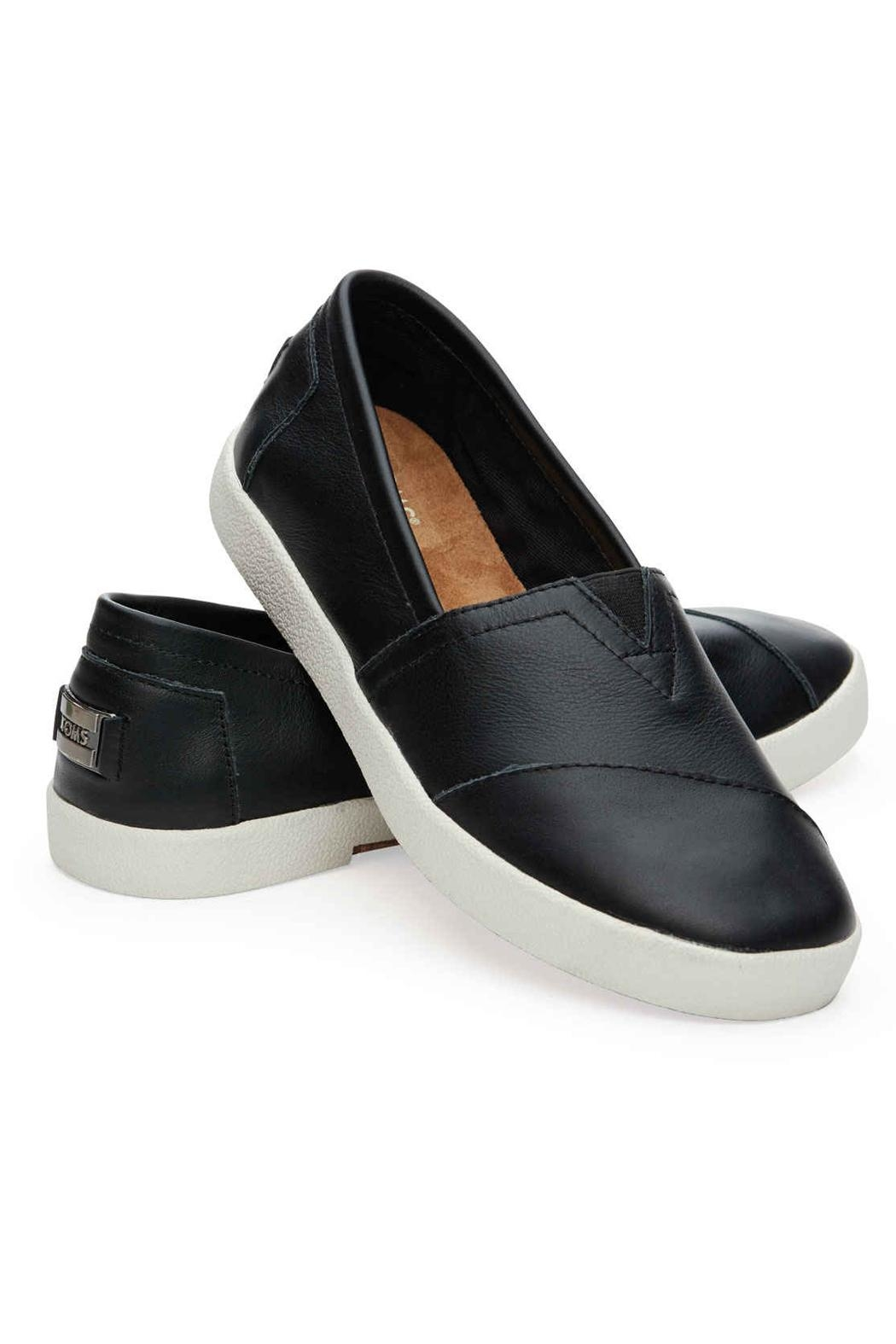 TOMS Leather Avalon Slip Ons - Front Full Image