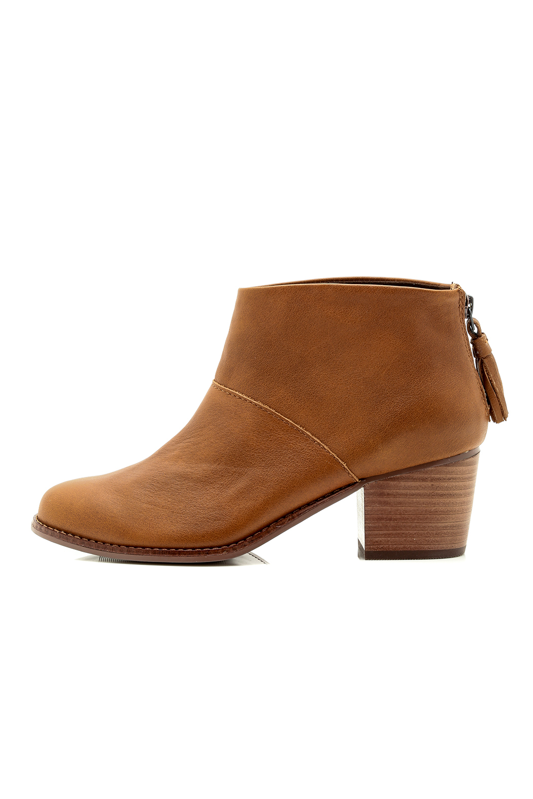 Mid Stack Leather Bootie