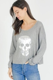 Six Fifty Tonal Foil Skull Pullover Top - Product Mini Image
