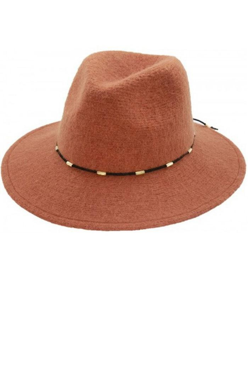 Too Too Hat Gold Beaded Suede Strap Panama - Front Cropped Image