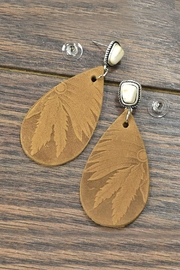 JChronicles Tooled-Leather Natural-White Turquoise-Earrings - Product Mini Image