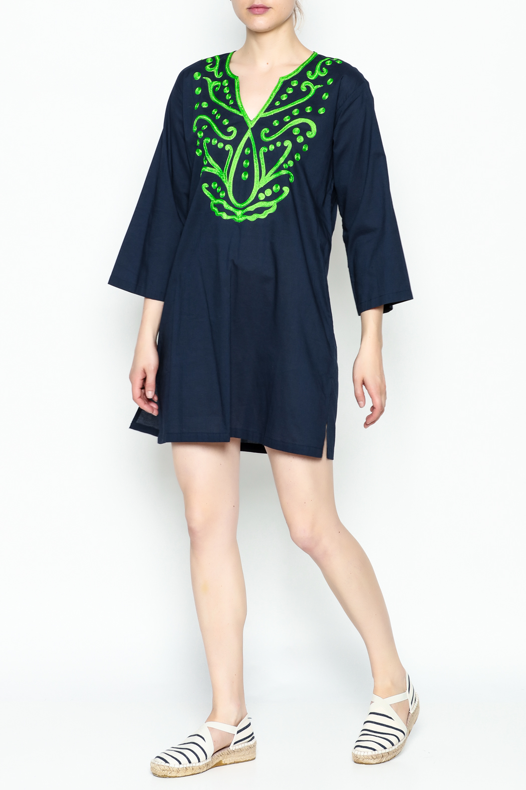 Top It Off Navy Embroidered Tunic - Side Cropped Image
