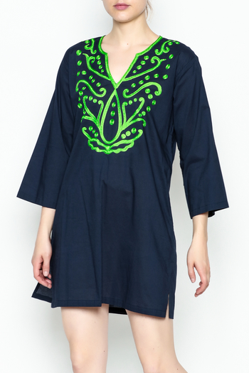 Top It Off Navy Embroidered Tunic - Main Image