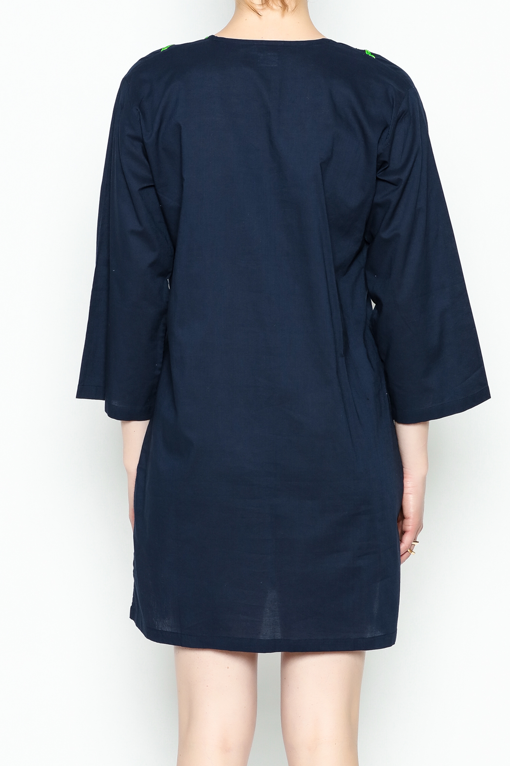 Top It Off Navy Embroidered Tunic - Back Cropped Image