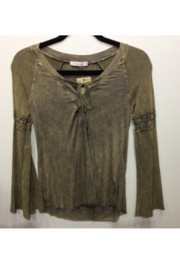 T Party Top - Knit Laced Up Neck Bell Sleeves Top - Product Mini Image