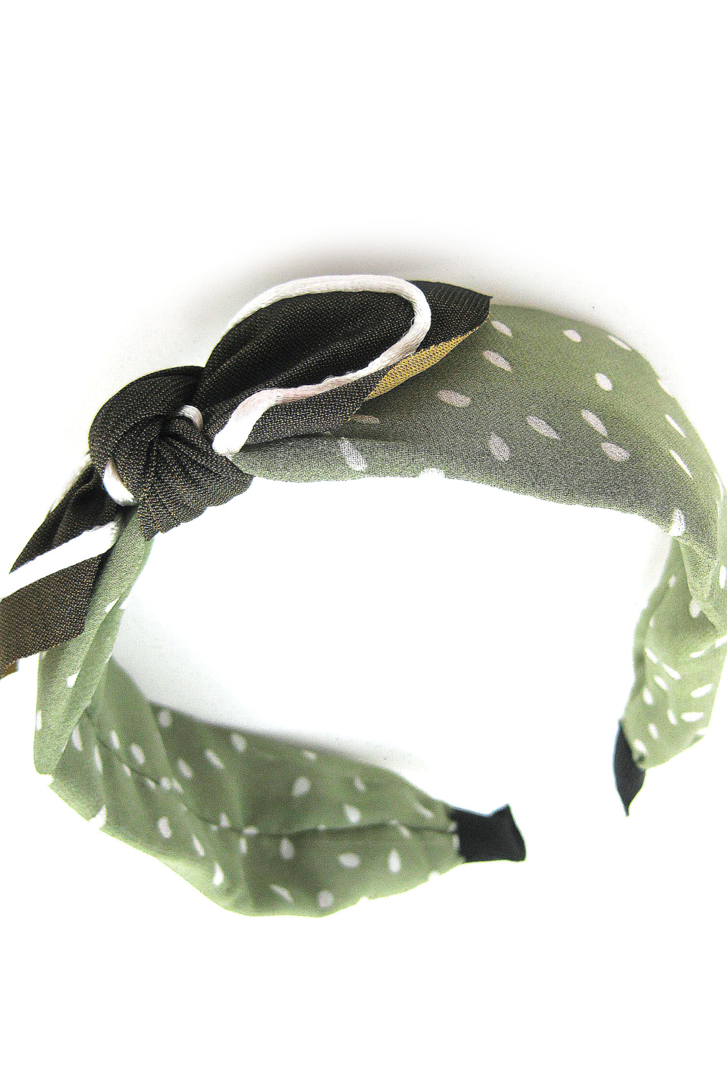 Story By Davinci Top Knot Polka Dot Headband - Front Cropped Image