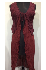 O2 Collection Top - Vest Burgandy Lace Tunic - Product Mini Image