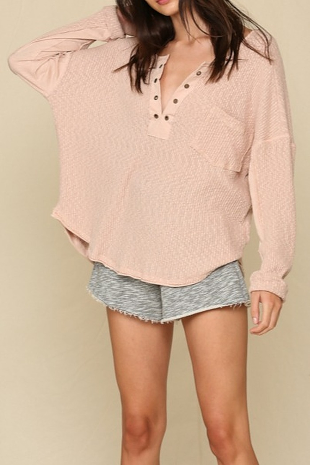 By Together  Top with Eyelet Detail and Oversized Fit - Front Full Image