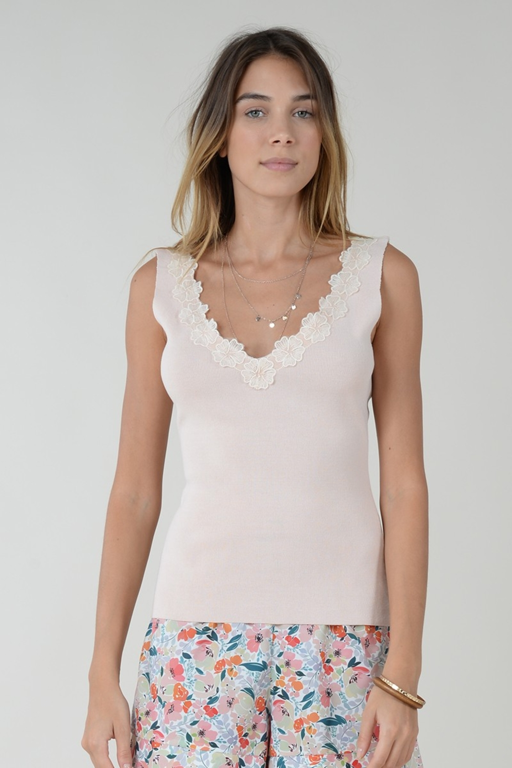 Molly Bracken TOP WITH FLOWER ACCENT - Main Image