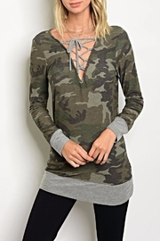 top chic Camo Laceup Top - Product Mini Image