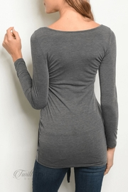 top chic Charcoal Tie Top - Front full body