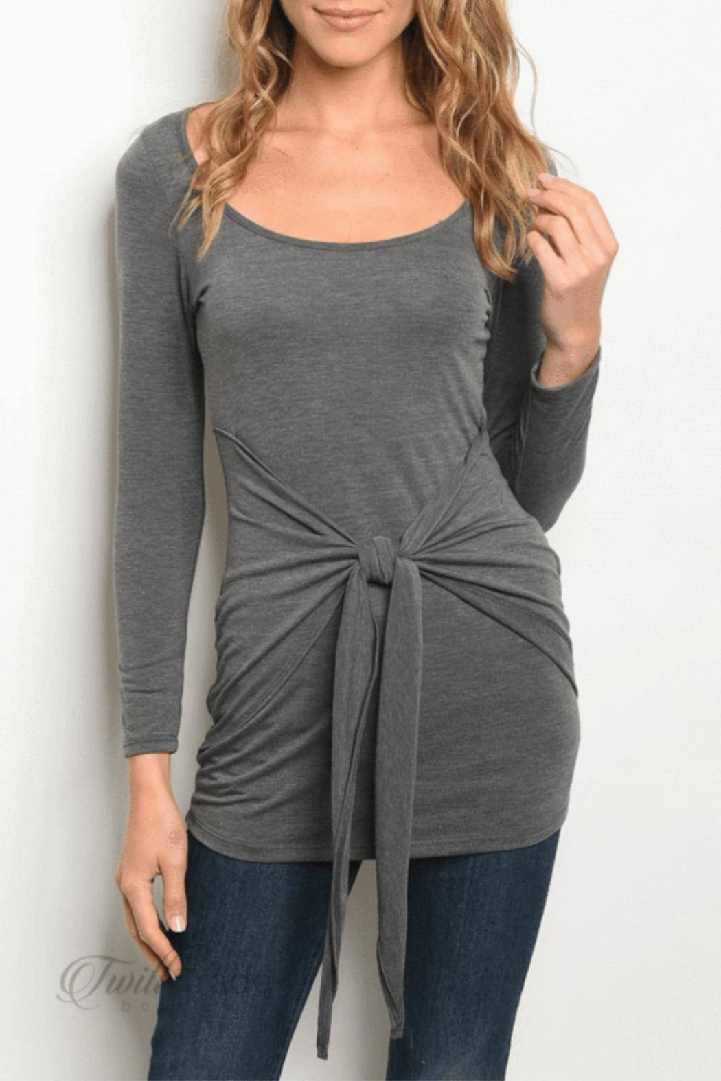 top chic Charcoal Tie Top - Main Image