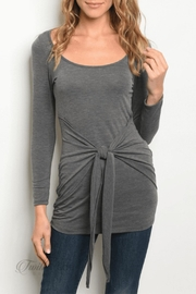 top chic Charcoal Tie Top - Front cropped
