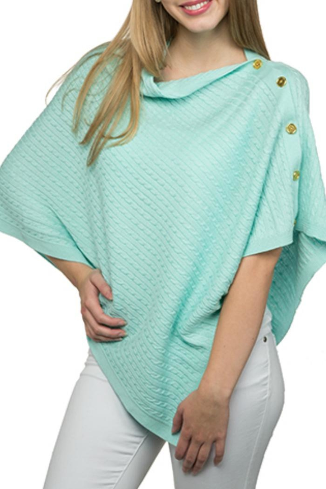 Top It Off Cable Button Poncho - Main Image