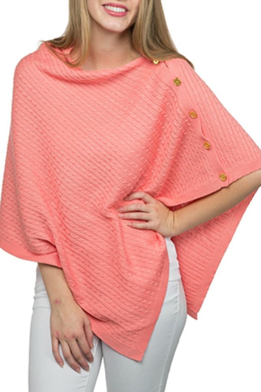 Top It Off Cable Button Poncho - Front Cropped Image