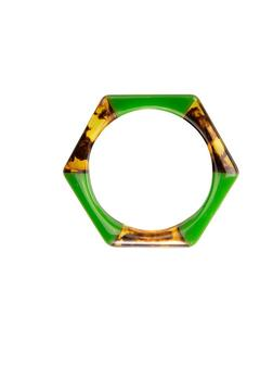 Top It Off Green Tortoise Bangle - Alternate List Image