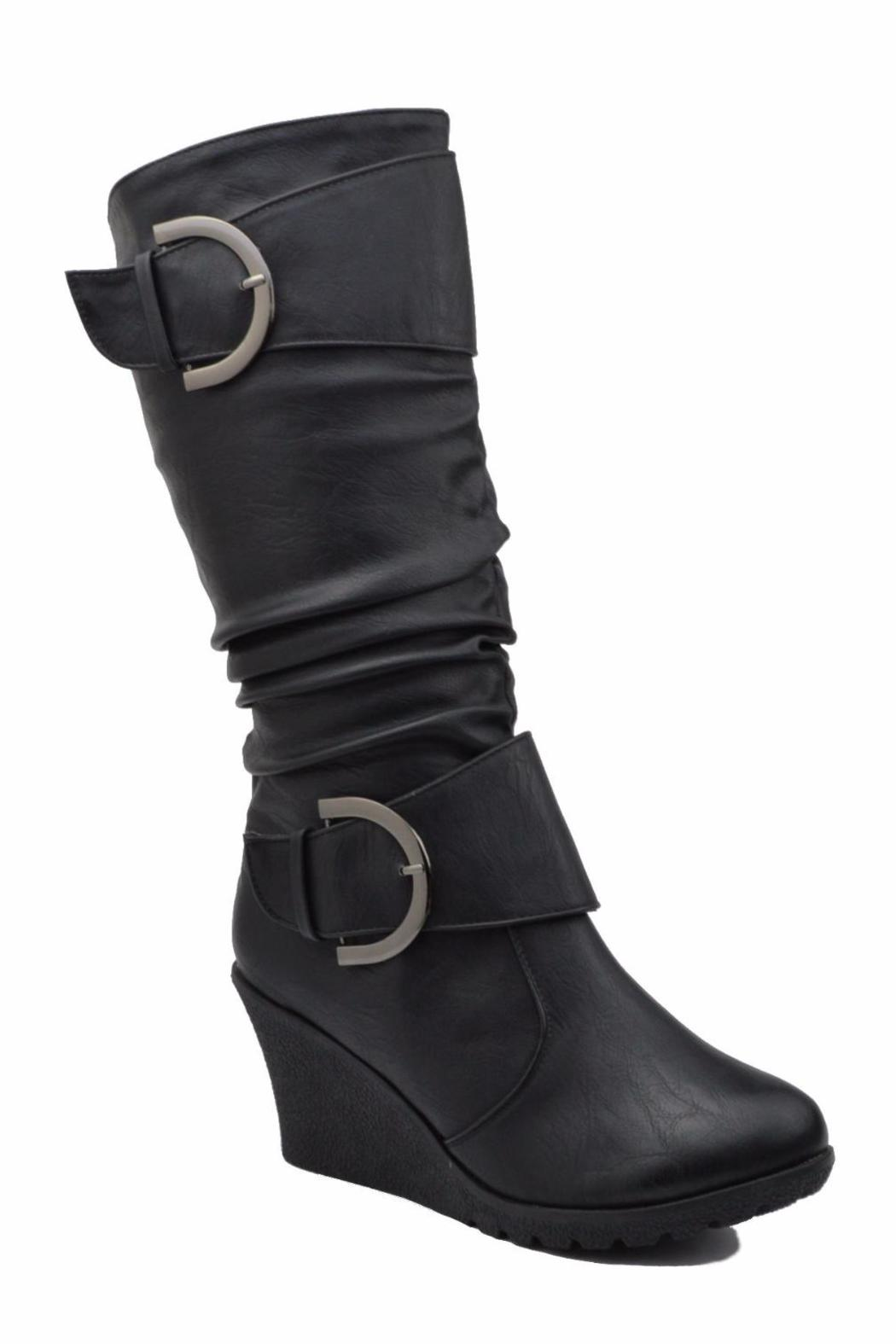 Top Moda Slouched Wedge Boots - Front Full Image