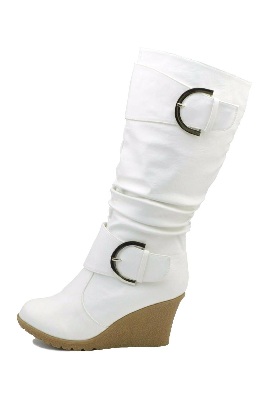 Top Moda Slouched Wedge Boots - Front Cropped Image