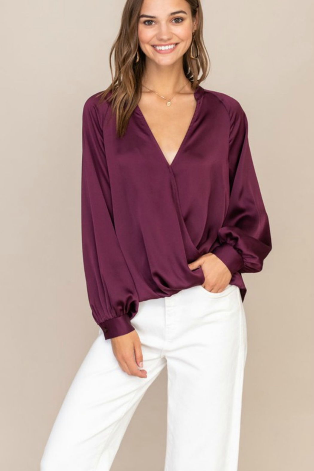 Lush  TOTAL BABE BLOUSE - Front Cropped Image
