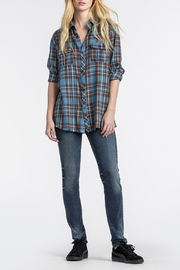 MM Vintage Totem-Embroidered Blue Plaid - Front full body